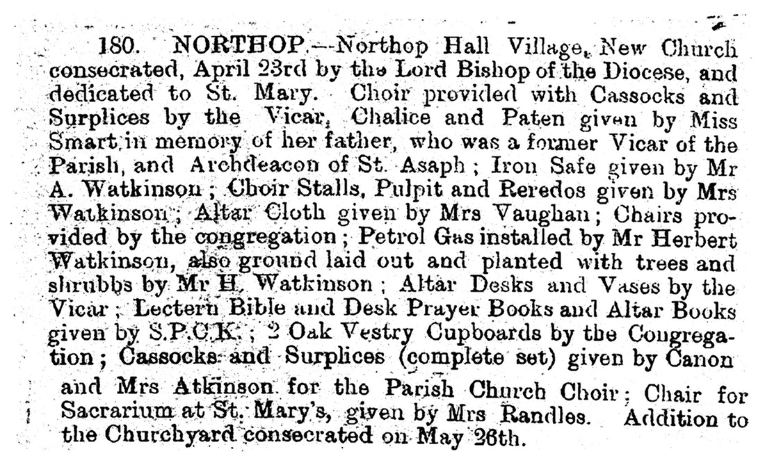 Northop Hall Churc h gving of furnishings article